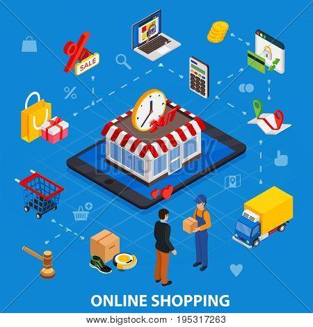 Online shopping isometric concept with related elements on meshes blue background vector illustration