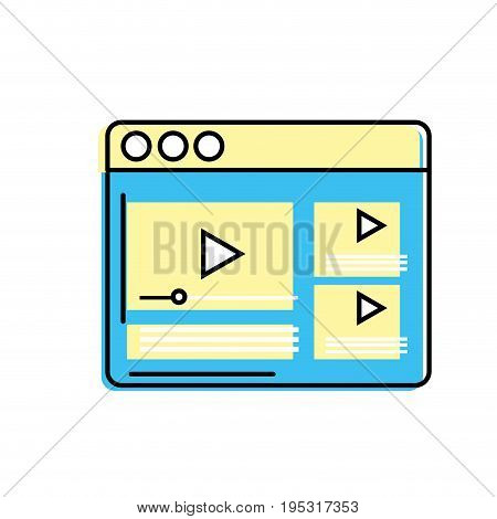 website with important videos information vector illustration