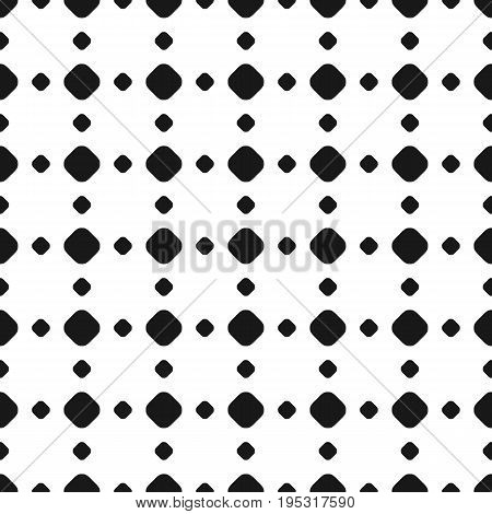 Polka dot seamless pattern. Vector black & white subtle texture. Abstract monochrome background with different sized circles in square geometric grid. Dotted design element for prints, decor, paper. Polka dot background. Dot pattern.