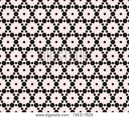 Subtle geometric seamless pattern with small hexagons. Abstract modern texture, delicate hexagonal grid. Stylish monochrome background. Design element for home, decor, textile, fabric, package, cloth. Geometric shapes. Geometric background.