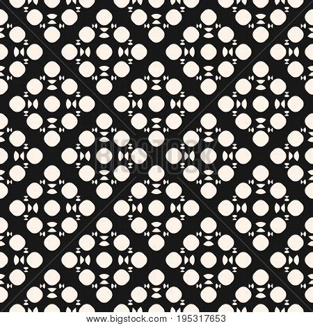 Abstract pattern. Vector monochrome seamless pattern with simple geometric shapes, circles, rounded triangles. Stylish dark abstract background. Funky texture, repeat tiles. Design for decoration, prints, package, web. Abstract background.