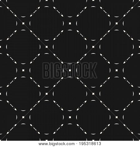 Simple geometric pattern. Vector monochrome seamless pattern. Subtle background with simple geometric figures, thin lines. Illustration of mesh, lattice. Repeat dark abstract texture. Light design for prints, cover, digital. Simple pattern.