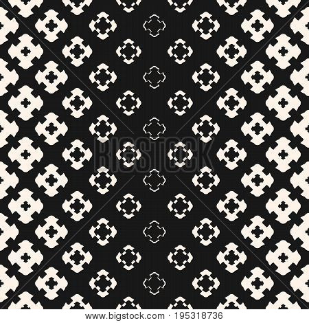 Vector halftone texture, monochrome seamless pattern, gradient transition effect from light to dark. Geometric background with floral shapes, carved crosses. Stylish design element for prints, decor. Halftone background. Halftone gradient.