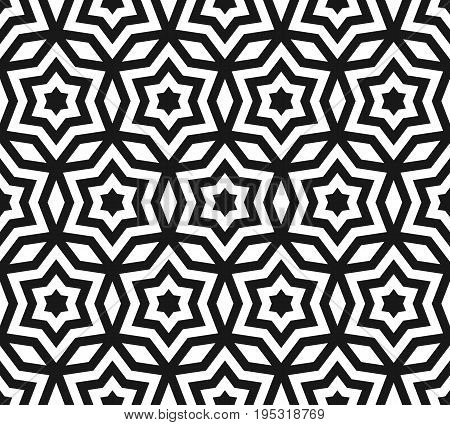 Star pattern. Vector seamless pattern, black & white ornament texture with linear stars, angular geometric figures. Stars background. Abstract geometric monochrome background, repeat tiles. Design for prints, decor, fabric, textile. Star pattern backgroun