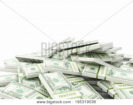 3D Stack Of Us Dollars Banknotes