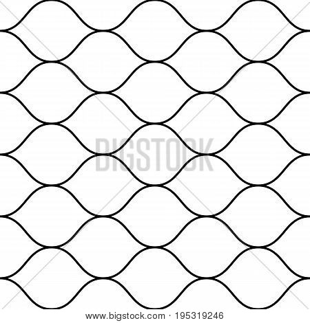 Mesh pattern. Vector seamless pattern, thin horizontal wavy lines. Texture of mesh, fishnet, lace, weaving, smooth grid. Subtle monochrome geometric background.  Mesh texture. Design for prints, fabric, cloth, textile, home, decor. Mesh background.