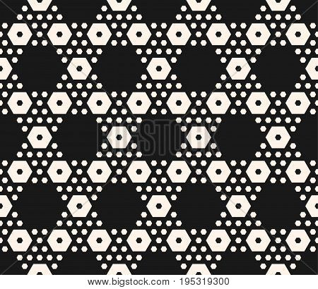 Vector monochrome texture, simple geometric seamless pattern with big and small hexagons. Black abstract modern background, repeat tiles. Design element for textile, decoration, covers, package, print.