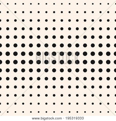 Vector monochrome seamless pattern. Halftone dots different sized circles. Halftone background. Gradient transition visual effect. Abstract spotted background. Simple modern geometric texture. Design for prints, decor. Halftone texture.