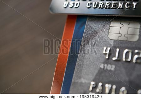 Usd Currency Payment Credit Cards With Accumulation