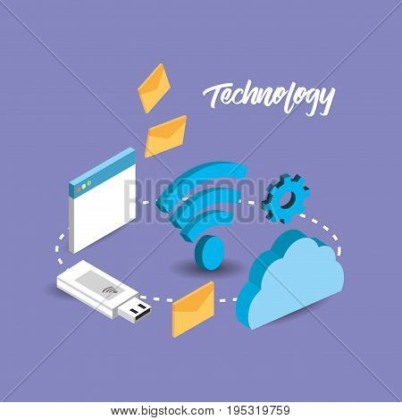 usb with network technology data connect vector illustration