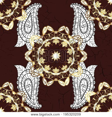 Antique golden repeatable sketch. Gold brown floral ornament in baroque style. Golden element on brown background. Damask pattern repeating background.