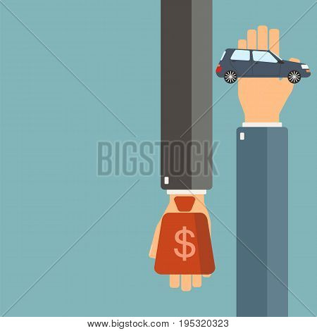 Car rent or sale concept. Buying new car. Hand of agent hold a car client hand hold money. Vector illustration.