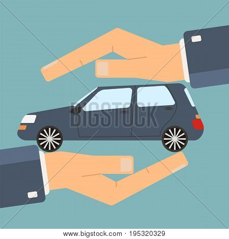 Concept of insurance and protection security. Hands of agent protect a car. Vector illustration.