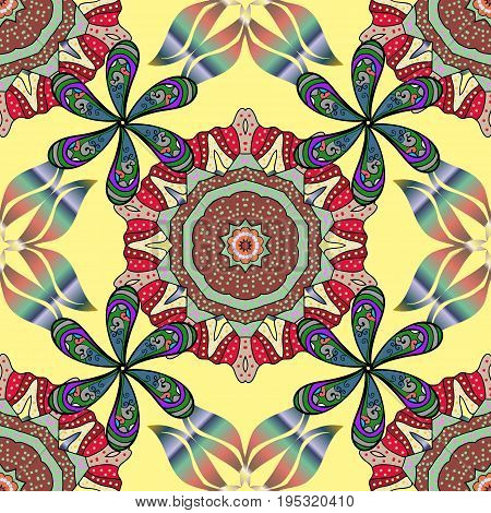 Seamless exotic pattern with many tropical flowers. Blooming jungle. Motley vector illustration.