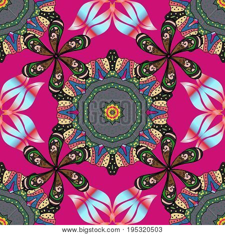 Flowers on colorful background. Vector floral pattern in doodle style with flowers. Gentle cute floral background.