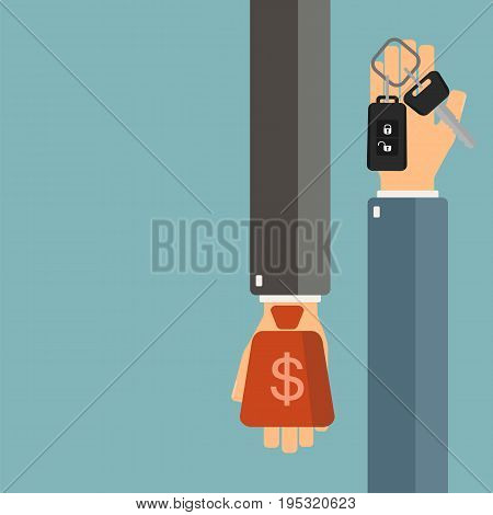 Car rent or sale concept. Buying new car. Hand of agent hold a car key client hand hold money. Vector illustration.