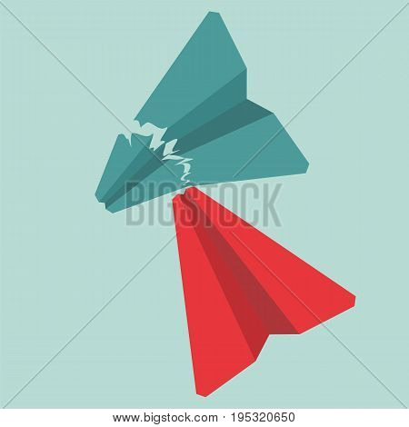 Opposition or competitor concept. Red paper airplane crashed green airplane.