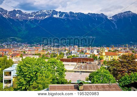 Panoramic Aerial View Of Innsbruck And Hafelekarspitze Mountain