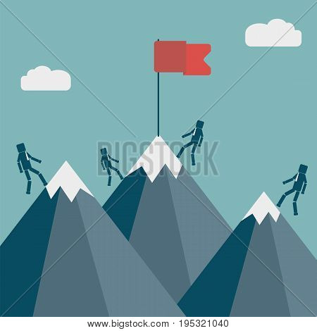 Competition or teamwork concept. Businessmans climbing to the top of the mountain. Vector illustration.