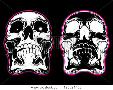 Voodoo skull illustration on black background. T-shirt design
