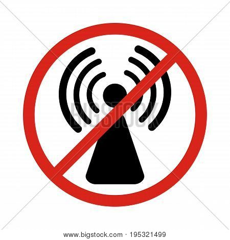 No radio waves warning sign. Vector illustration.