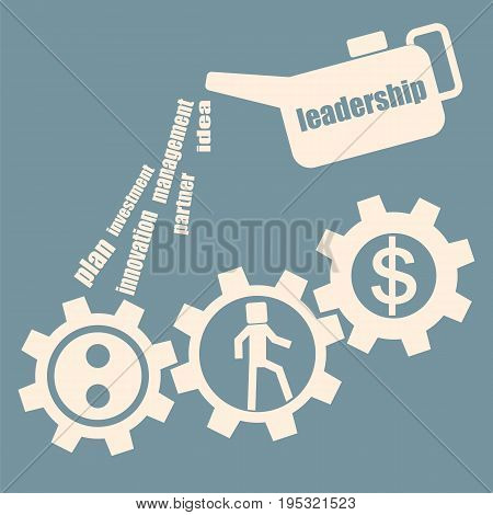 Leadership concept. Oiler lubricates gear mechanism. Vector.