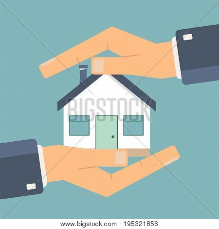 Concept of insurance and protection security. Hands of agent protect a house. Vector illustration.