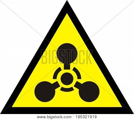 Chemical weapon. Warning yellow sign. Vector  ill