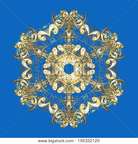 Christmas and New Year theme. Vector winter design on a blue background. Happy smiling snowflakes. Golden snowflakes decorated with circles and dots.