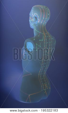 Medical Acupuncture Model Of Human On Blue Background