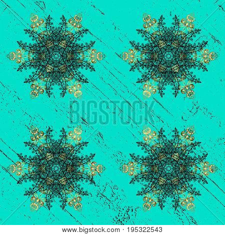 Dark pattern on blue and dark background with dark elements. Ornate vector decoration. Damask pattern background for sketch design in the style of Baroque.