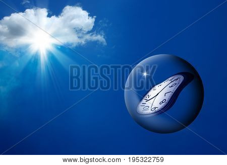 conceptual image of clock in glass ball floating in air