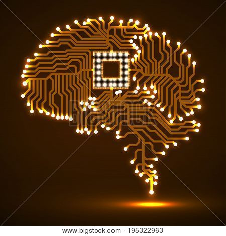 Abstract technological glowing brain. Cpu. Circuit board. Vector illustration. Eps 10