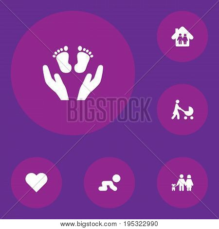 Set Of 6 Relatives Icons Set.Collection Of Heart, Perambulator, Walking And Other Elements.