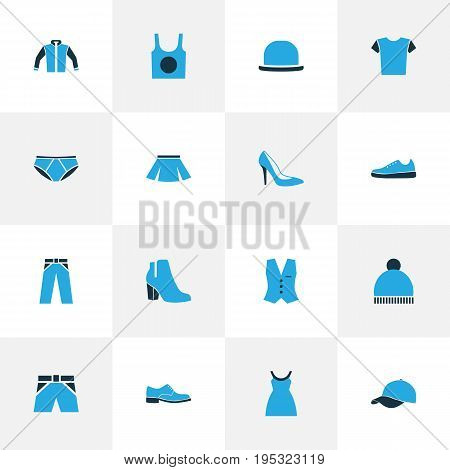 Garment Colorful Icons Set. Collection Of Panties, Underwear, Trousers And Other Elements. Also Includes Symbols Such As Tunic, Singlet, Pompom.
