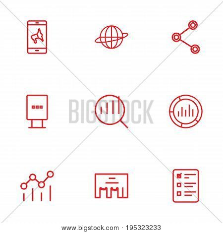 Set Of 9 Trade Outline Icons Set.Collection Of Social Media Ads, Brand Awareness, Stand Elements.