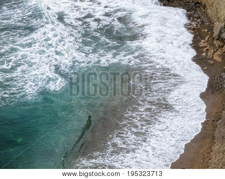 seascape image of elevated view beach with waves