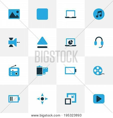 Music Colorful Icons Set. Collection Of Arrow, Filmstrip, Picture And Other Elements. Also Includes Symbols Such As Low, Reel, Resize.