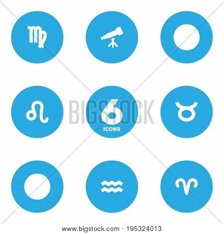 Set Of 6 Horoscope Icons Set.Collection Of Binoculars, Water Bearer, Virgin And Other Elements.