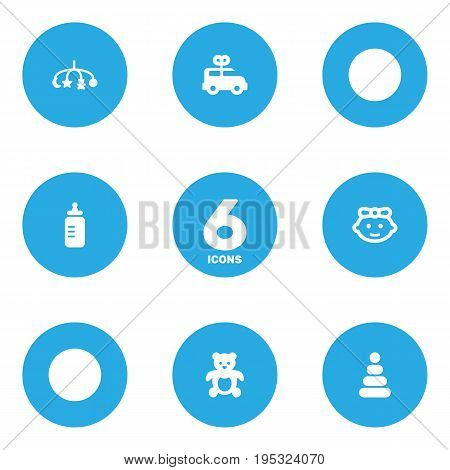 Set Of 6 Kid Icons Set.Collection Of Bear, Girl, Bus And Other Elements.