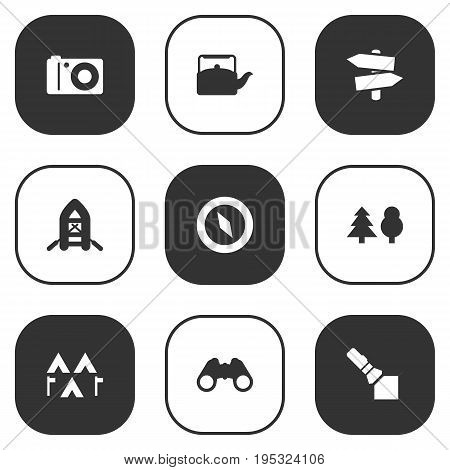 Set Of 9 Picnic Icons Set.Collection Of Photo Camera, Camp, Flashlight And Other Elements.