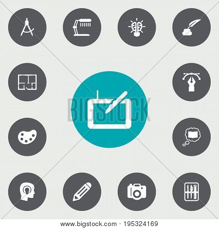 Set Of 13 Creative Icons Set.Collection Of Scheme, Science, Pencil And Other Elements.