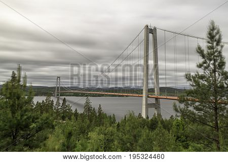 The High Coast Bride in Sweden with a cloudy sky.