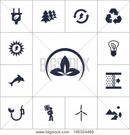 Set Of 13 Ecology Icons Set.Collection Of Fish, Reforestation, Energy And Other Elements.