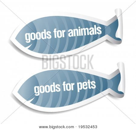 goods for pets and animals stickers set