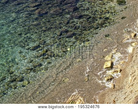 seascape image of elevated view beach with clear water.
