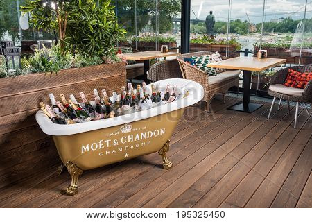 ROSTOV-ON-DON RUSSIA - JUNE 2017: The bath is filled with ice and champagne
