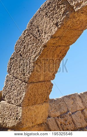 Roman Old Stone Arc In Caesarea Archaeological Site Close To Herod The Great Hippodrome