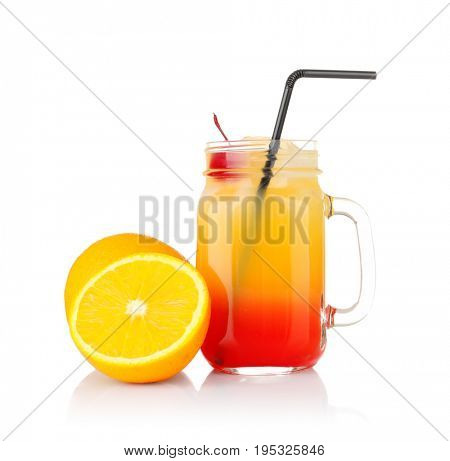 Delicious tequila sunrise cocktail on white background
