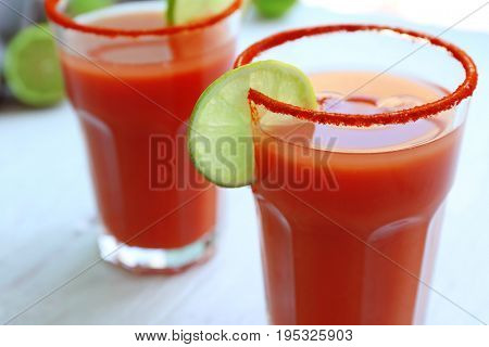 Delicious cocktails with tequila, closeup